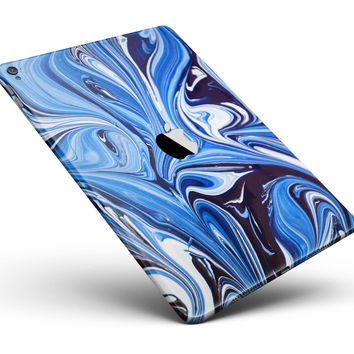 """Blue and White Blended Paint Full Body Skin for the iPad Pro (12.9"""" or 9.7"""" available)"""