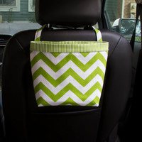 Headrest Car Caddy, Lime Green Chevron, Car Litter Bag, Car Accessories, Toy Bag for Car
