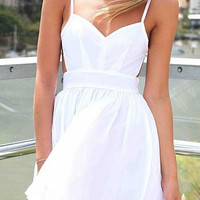 White Spaghetti Strap V-neck Pleated A-Line Mini Dress