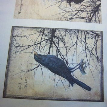 cotton quilt blocks  4 5 x 6 quilt squares raven crow blackbird fabric panel grungy fabric block sew on patch art journal cover wall art