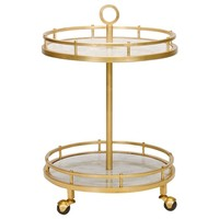 Worlds Away Emery Gold Leaf Bar Cart