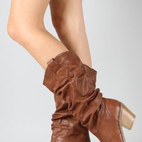 Qupid Muse-01 Western Cowboy Slouchy Knee High Boot COGNAC