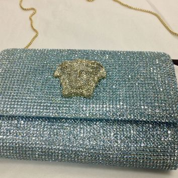 $4,000.00 Versace Runway Swarovski blue crystal,gold medusa face, women bag