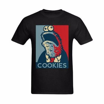 LMFON Funny T Shirts Men Summer Shirt Cotton T Shirt  Plus Size 2017 Cookie Monster Cartoon Image 100% Pure Cotton Tees O Neck