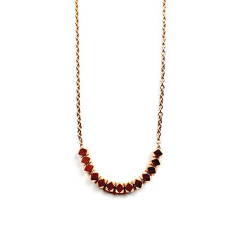 Rose Gold Bead Necklace - Copper, Beads, Geometric Jewelry, Stainless Steel, Dainty Jewelry