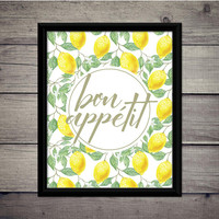 Bon Appétit - Home Print,  Instant Download, Digital Printable, Kitchen Art, Gift, Decor, Rustic, Wall, Dining Room, Lemon, Sign, Country