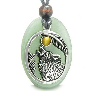 Amulet Courage Howling Wolf MoLucky Charm Green Aventurine Tiger Eye Pendant Necklace