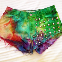 Low Cut Tie Dyed Sherbet Studded Front Denim Shorts - Size 4