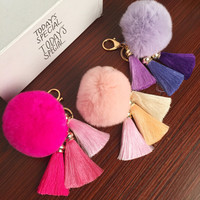 Free Shipping! REAL Rabbit Fur Ball Plush Fur Key Chain POM POM Keychain Tassel Pompom Car Bag Keychain Key Ring Pendant Jewelry
