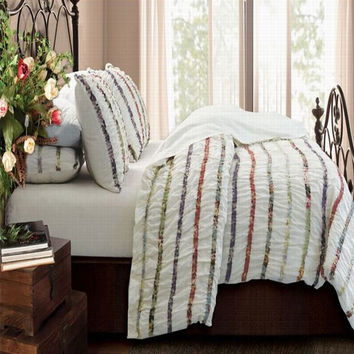Greenland Bella Ruffle Duvet Cover Set, Twin, Full/Queen or king
