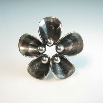 Scandinavian Jewelry. Silver Flower Brooch. Denmark Sterling by N. E. From. Modernist Flower Pin. 1950s Vintage Mid Century Danish