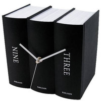 Table Clock Book Black Paper