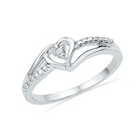 Diamond Accent Sterling Silver Heart Fashion Ring