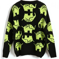 Contrast Loose Fit Knitted Jumper with Green Elephant Print