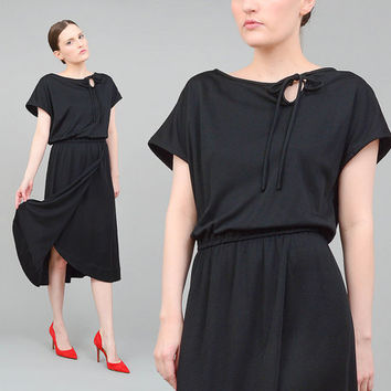 70s Black Midi Dress Cut Out Keyhole Cap Sleeve 1970s Blouson Dress Minimal Disco Dress Large L