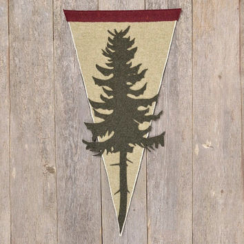 Pine Tree Pennant Flag - Reclaimed Felt Wall Hanging - Woodsy Decor