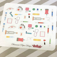 39 kiss cut and ready to peel off Medical Stickers! Perfect for your Erin Condren Life Planner, Filofax, Kikkik, Plum Paper