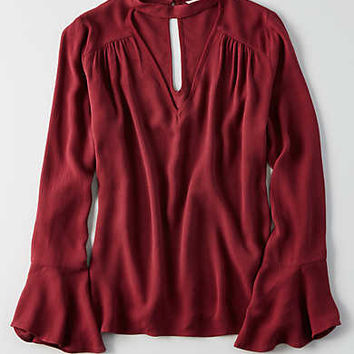 AEO Printed Long Sleeve Choker Top , Burgundy