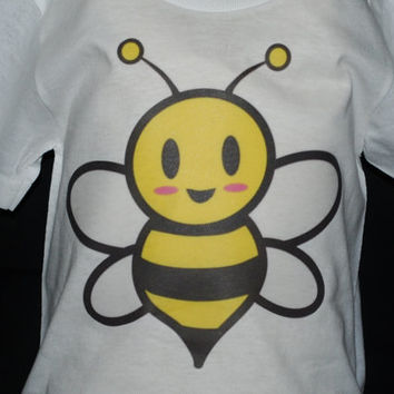 "Baby Onsie, Toddler  Tee, Free Shipping,  ""BABY BEE"", White, Baby, Toddler, Graphic Design, Baby Shower, Baby Gift, Unisex, Yellow"