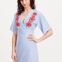 Blue Striped Red Embroidery A Line Dress