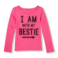 Girls Long Sleeve Embellished Graphic Top   The Children's Place