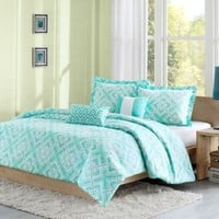 Laurent Reversible Comforter Set in Teal