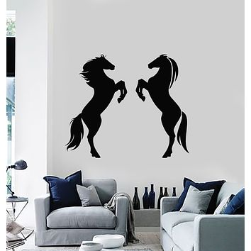 Vinyl Wall Decal Two Horses Animals Ornament Racing Mustang Stickers Mural (g1606)