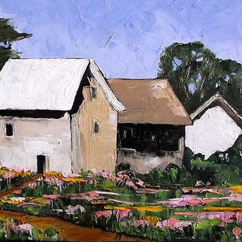 Impressionist Painting Original Lynne French Plein Air Landscape YARROW Garden Wildflower Farm Cottages  Art 16x20