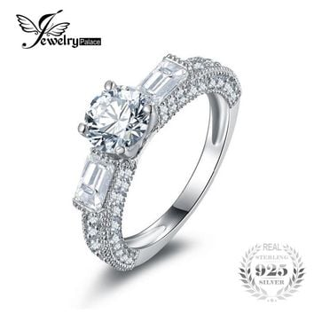 JewelryPalace Vintage 3 Stone Anniversary Engagement Ring 925 Sterling Silver Engagement Rings 2016 New Fashion