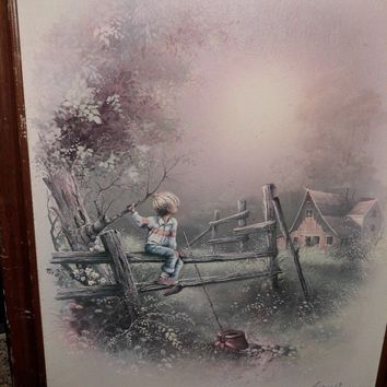 Artist Andres Orpinas Framed Boy Sitting on fence on Country Road Signed