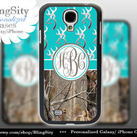Monogram Galaxy S4 case S5 Browning Aqua Teal Real Tree Camo Deer Personalized RealTree Samsung Galaxy S3 Case Note 2 3 Cover