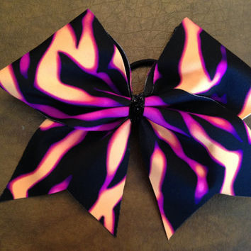 "3"" Luxury Cheer Bow - Black, Pink and Orange  Fire"