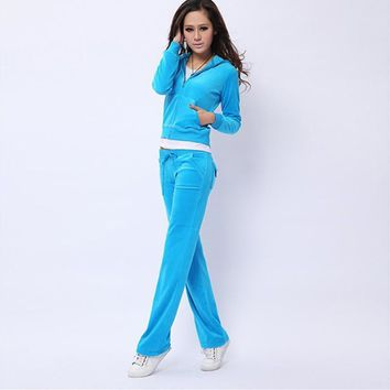 Juicy Couture Pure Color Velour Tracksuit 6047 2pcs Women Suits Sky Blue