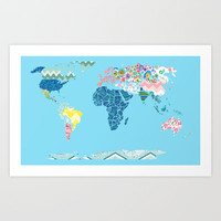 A Traditional Map of the World Art Print by Catherine Holcombe