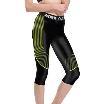 JIGERJOGER Yellow striped streamline Yoga fast dry running Capris Women's sports athletic spandex 4 way stretchy outfits shorts