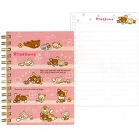 San-X Rilakku Cat A6 Lined Spiral Notebook with Hard Cover: Pink