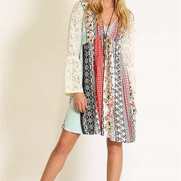 Lace Bell Sleeve Boho Print Dress