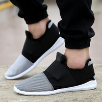 Fresh Air mesh fabric mens loafers black white color cloth patchwork leisure canvas shoes for mans cool walk shoes
