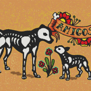 Dia de los Muertos cross stitch kit 'Amigos'' by Illustrated Ink. Modern cross stitch, counted cross stitch
