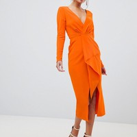 ASOS DESIGN long sleeve waterfall deep plunge midi dress at asos.com