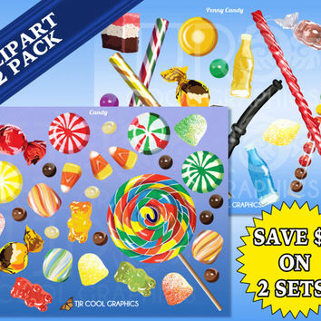 Candy 2 Pack, Digital, Realistic Clip Art, Commercial, PNG, Printable, Lollipop, Mint, Gummi Bear, Chocolate, Candy Corn, Jawbreakers, Gum