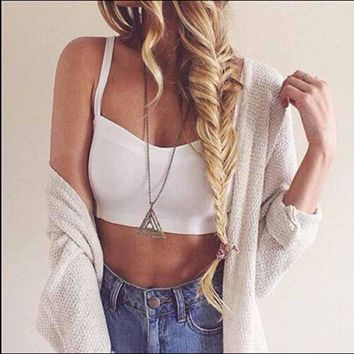 1PC Fashion Sexy Backless Hollow Out Padded Bra Strap Crop Short Tops Women Cotton Vest Cut Out Summer Sleeveless Tank Tops Vest