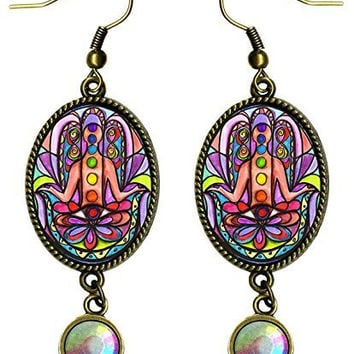 "Chakra Hamsa Antique Bronze Gold Iridescent Rhinestone Long 2 1/2"" Dangling Earrings"
