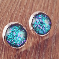 Glitter glass earrings-teal purple glitter glass silver tone stud druzy earrings