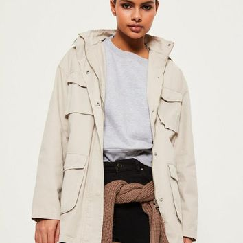 Missguided - Cream Canvas Step Hem Parka