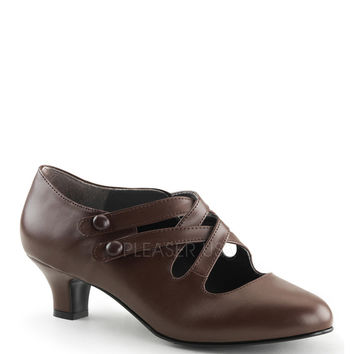 Funtasma Dame-02 Brown Kitten Heel Pump