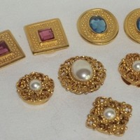 Button Covers Vintage 8 set Gem Stones Filigree Metal Gold Tone  Faux Pearls &  Jewels