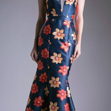Navy Blue Floral Print Long Prom Dress Strapless
