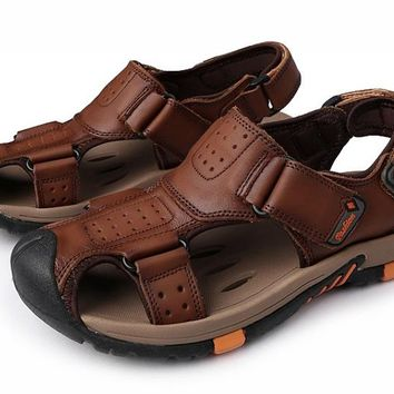 Summer Men Genuine Leather Sandals Casual Male Leather Sandals Beach Flat Sandal
