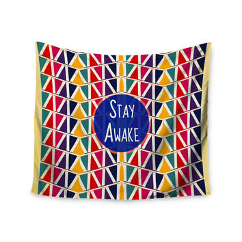"Famenxt ""Stay Awake"" Yellow Multicolor Wall Tapestry"